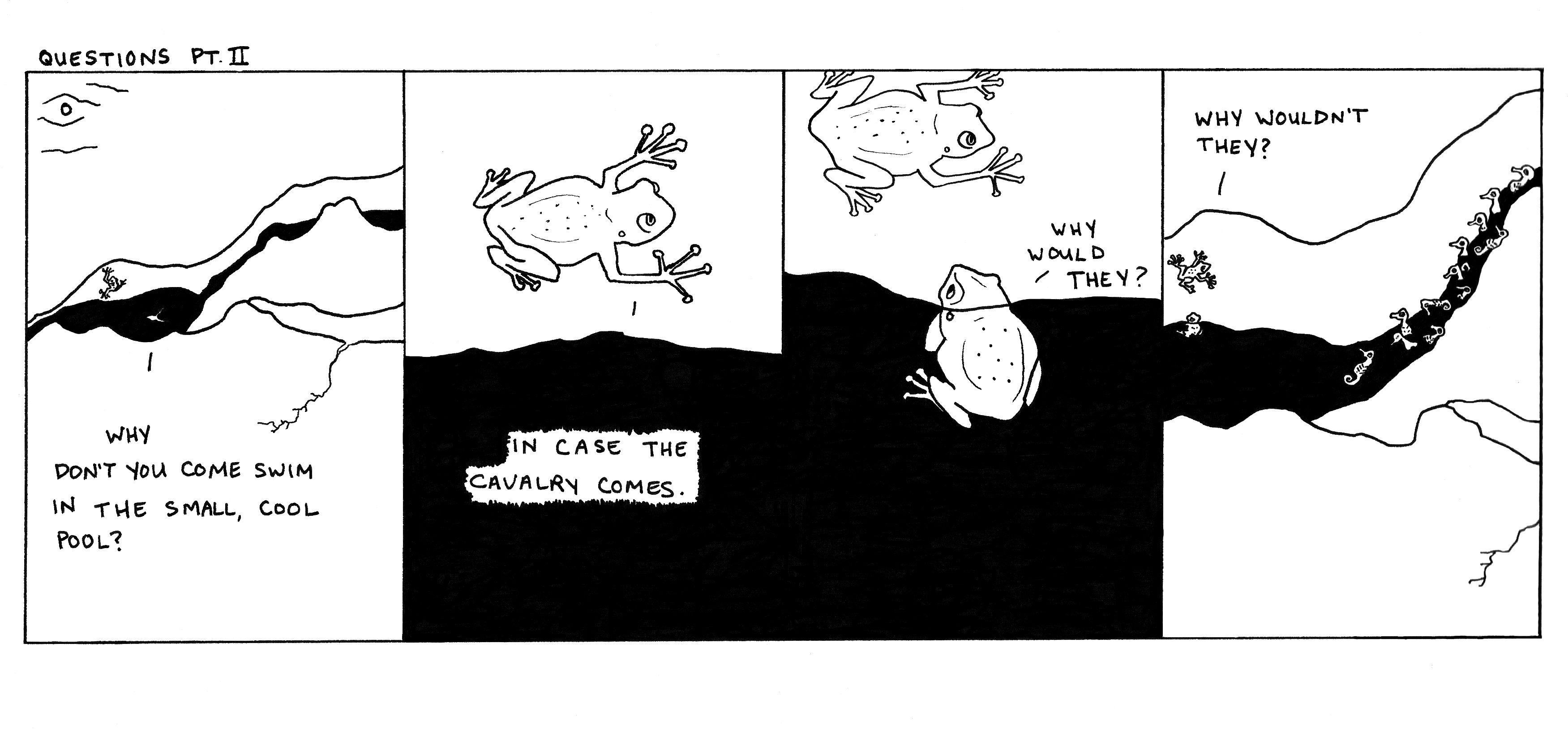"While drawing this comic, I momentarily forgot what to call seahorses – all I could think of was ""ocean ponies."""
